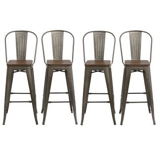 """Antique Bronze Distressed Rustic Wood 30"""" High Back Chair Bar Stools"""