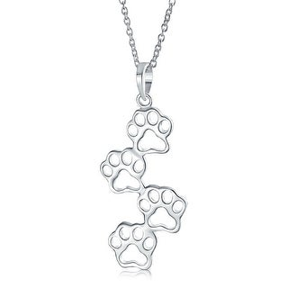 Dog Cat Puppy Kitten Paw Prints Pet Pendant Necklace Sterling Silver