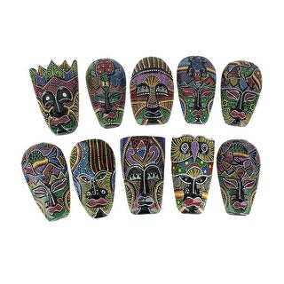 Set of 10 Hand Carved Island Tribal Masks Dot Painted 6 1/2 Inch