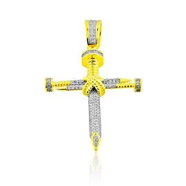 1/4cttw Diamond Nail Cross Pendant 10K Yellow gold