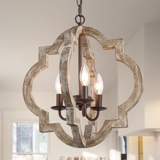 Farmhouse 3-lights Chandelier with Lantern Pendant for Dining Room