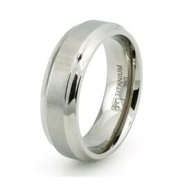 Classic Titanium Ring w/ Concave Edge & Brushed Center