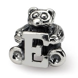 Sterling Silver Reflections Kids Letter E Bead (4mm Diameter Hole)