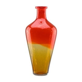 """15"""" Flame Orange and Amber Yellow Ombré Hand Blown Bubble Glass Vase"""