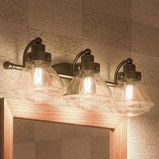 "Luxury Transitional Bathroom Vanity Light, 8""H x 25""W, with Rustic Style, Parisian Bronze Finish"