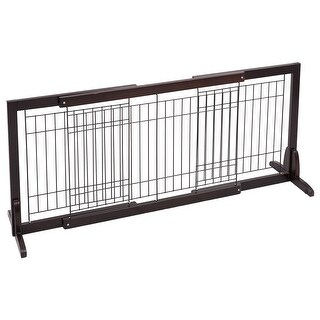 Gymax Slide Wood Dog Gate Pet Fence Playpen Adjustable Indoor Free