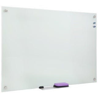 Mount-It! Magnetic Glass Dry Erase Board Floating Wall Mounted Frameless Frosted Whiteboard with Accessory Tray 36x24 Inches