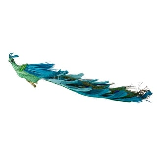 "14"" Green and Blue Jeweled Peacock Clip-On Christmas Ornament"