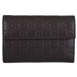 New Gucci 346057 Brown Leather GG Guccissima French Wallet W/Coin Pocket