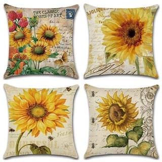 Oil Painting Sunflower Vintage Throw Pillow Case