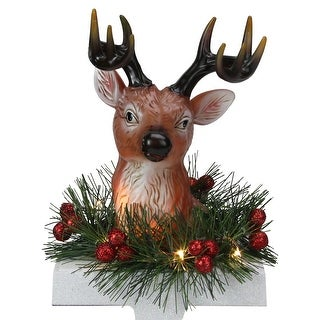 """8"""" LED Lighted Reindeer and Holly Berry Christmas Stocking Holder"""