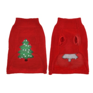 Warm Turtleneck Red Christmas Tree Print Knitted Chihuaha Dog Sweater Clothes M