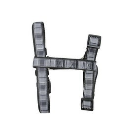Large Black and Gray Plaid Heavy Weight Nylon Adjustable Dog Harness