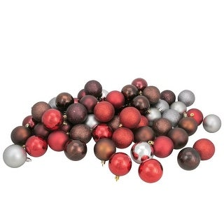"60ct Red and Silver Shatterproof 4-Finish Christmas Ball Ornaments 2.5"" (60mm)"