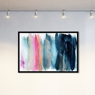 Oliver Gal 'Parque del Retiro' Abstract Framed Wall Art Prints Paint - Blue, Pink