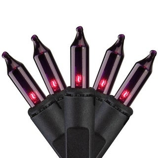 Set of 100 Purple Mini Icicle Christmas Lights - 7.8ft Black Wire