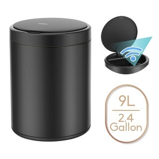 2.4 Gallon Automatic Trash Can Black Steel Touchless Motion Sensor Bin Soft Close Lid 9L IPX4 Waterproof Office, Bathroom