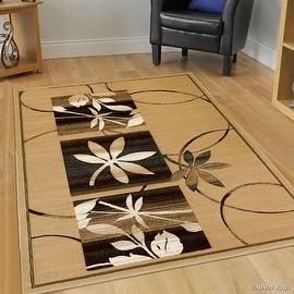 "Allstar Brown / Beige Flowers Floral Design Modern Geometric Area Rug (5' 2"" x 7' 2"")"