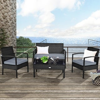 Costway 4PCS Outdoor Patio Rattan Furniture Set Cushioned Sofa Coffee