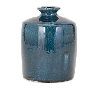 "8.5"" Small Arlo Rustic Blue Distressed Glazed Ceramic Vase"