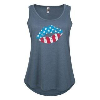 Usa Flag Lip Print - Women's Plus Size Tank Top