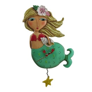 Allen Designs Shelley Mermaid Starfish Pendulum Wall Clock - 13 X 8 X 2 inches