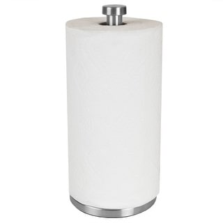Free Standing Paper Towel Holder with Weighted Base, Silver