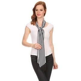 Ladies Navy and White Striped Skinny Scarf with Fringe.