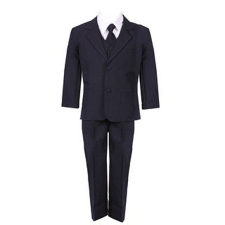 Boys Navy Blue 5 Piece Classic Vest Jacket Pants Special Occasion Suit