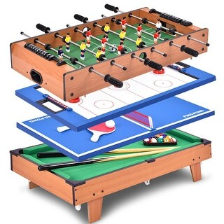 Costway 4 in 1 Multi Game Air Hockey Tennis Football Pool Table
