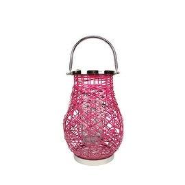 "13.5"" Modern Fuschia Pink Decorative Woven Iron Pillar Candle Lantern with Glass Hurricane"