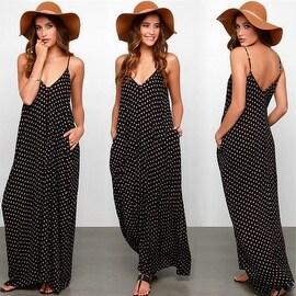 Womens Sleeveless Polka Dot Beach Tank Dress Sundress