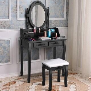 Costway Vanity Wood Makeup Dressing Table Stool Set Bedroom Mirror 4 Drawers Black