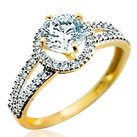 10K Yellow Gold Halo Style Engagement Ring With Split Shoulder 9mm Wide 1.5ctw CZ