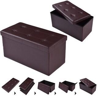 "Costway 30""x15""x15"" Large Folding Storage Faux Leather Ottoman Pouffe"