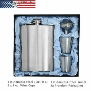Stainless Steel 8 oz Hip Liquor Whiskey Alcohol Flask+Funnel Faux Leather Wrap Siler