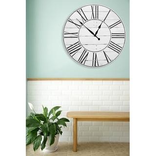 Reclaimed American Farmhouse White 30 Inch Wall Clock