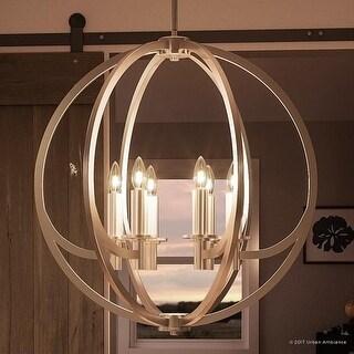 "Luxury Globe Chandelier, 25.5""H x 24""W, with Old World Style, Orbital Sphere Design,Brushed Nickel Finish"