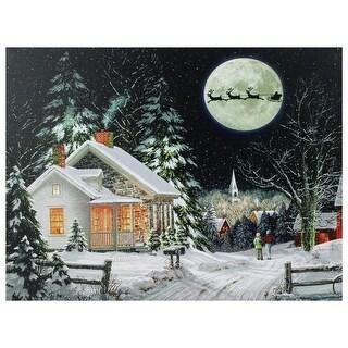 "LED Fiber Optic Lighted Santa Claus Coming to Town Christmas Wall Art 15.75"" x 12"""