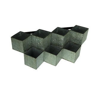 Rustic Galvanized Metal Geometric 7 Compartment Wall Mounted Planter - 8 X 22.25 X 8.5 inches