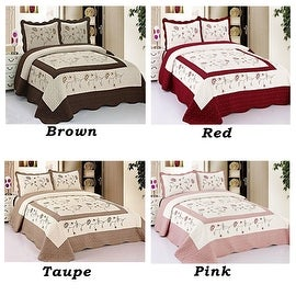 Full Size Brown Red Taupe Pink Floral Brand New 3 Piece Quilted Bedspread Quilt Sham