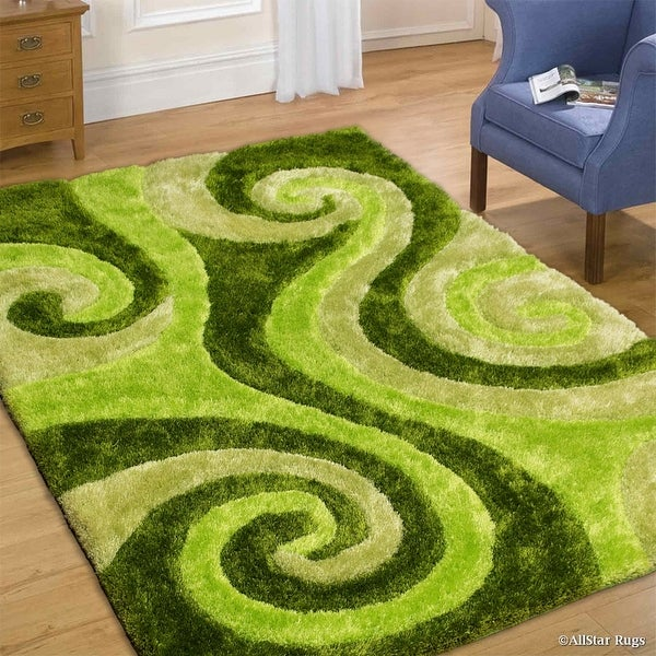 Allstar green shaggy area rug with 3d lime green spiral design