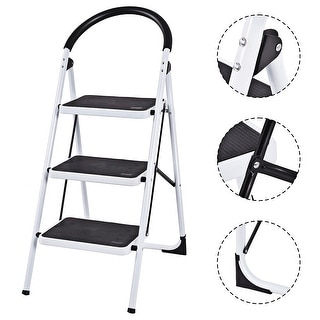 Costway 3 Step Ladder Folding Stool Heavy Duty 330Lbs Capacity Industrial Lightweight - Black & White