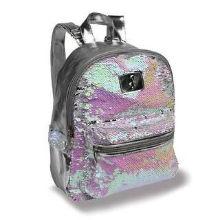 "Danshuz Girls Pink Silver Pearlescent Sequin School Backpack 10.5""x12""x4.5"" - One Size"