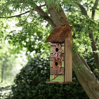Glitzhome Hanging Distressed Solid Wood Green Birdhouse