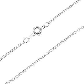 Silver Plated Fine Cable Chain Necklace - 2x1.8mm Links 18 Inches Long