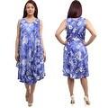 Summer Sleeveless Dress Ocean-inspired Print Summer Sundress, One Size, Blue Fuchsia Navy Orange Violet