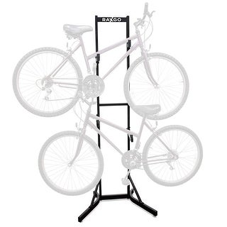 RaxGo Bike Storage Rack, 2 Bicycle Garage Stand, Adjustable, Freestanding, Adjustable Hooks Universal for Indoor Use