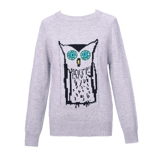 Richie House Girls' Pullover Sweater with Owl Artwork