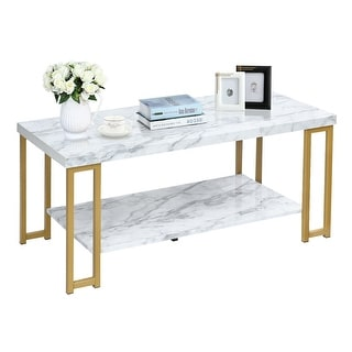 Gymax Modern Coffee Table Faux Mable Top Accent Cocktail Table w/ Gold Metal Frame